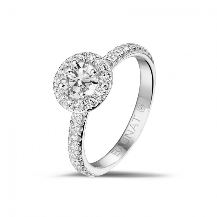 0.50 carat solitaire halo ring in platinum with round diamonds