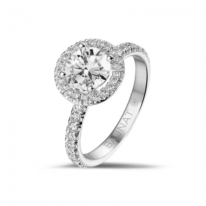 1.20 carat solitaire halo ring in platinum with round diamonds