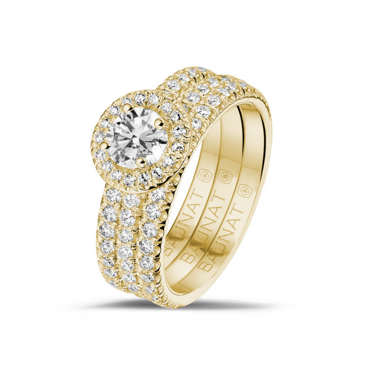 0.50 carat solitaire Halo ring in yellow gold with round diamonds