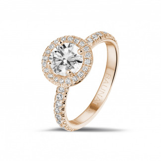 Red Gold Diamond Rings - 1.00 carat solitaire halo ring in red gold with round diamonds
