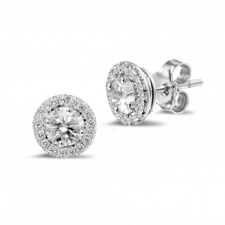 Brilliant earrings - 1.00 carat diamond halo earrings in white gold