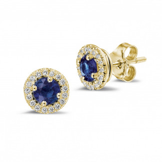 Jewels with ruby, sapphire and emerald - 1.00 carat diamond halo earrings with sapphire in yellow gold