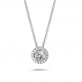 White Gold Diamond Necklaces - 0.50 carat diamond halo necklace in white gold