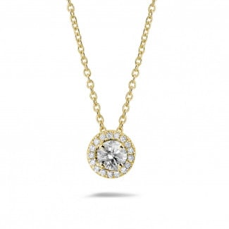 Yellow Gold Diamond Necklaces - 0.50 carat diamond halo necklace in yellow gold