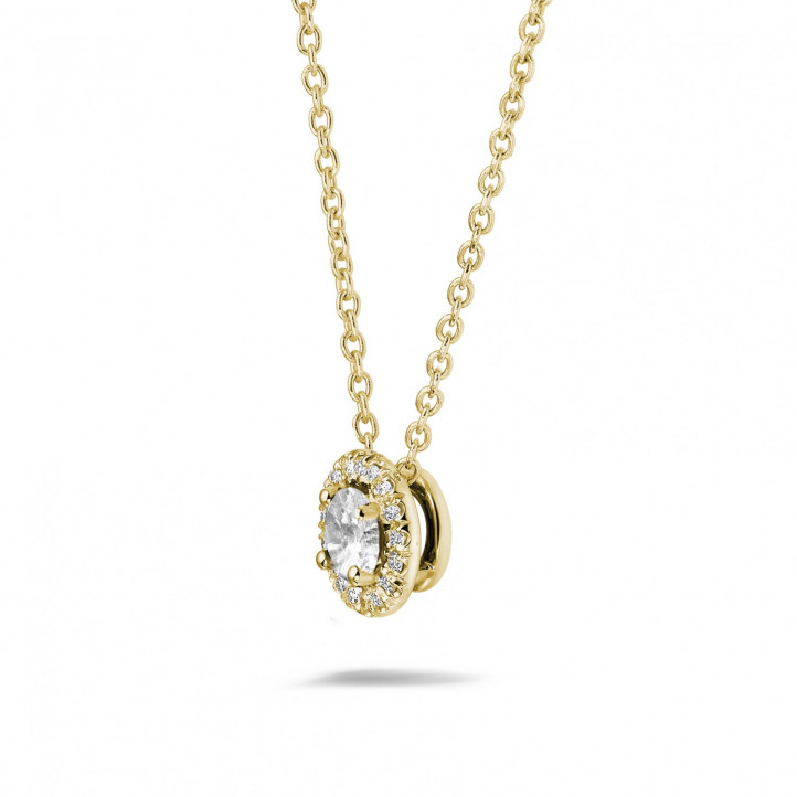 0.50 carat diamond halo necklace in yellow gold