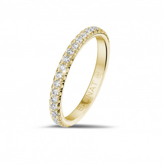 Yellow Gold Diamond Rings - 0.35 carat eternity ring (half set) in yellow gold with round diamonds
