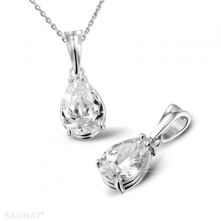 2.00 carat platinum solitaire pendant with pear shaped diamond