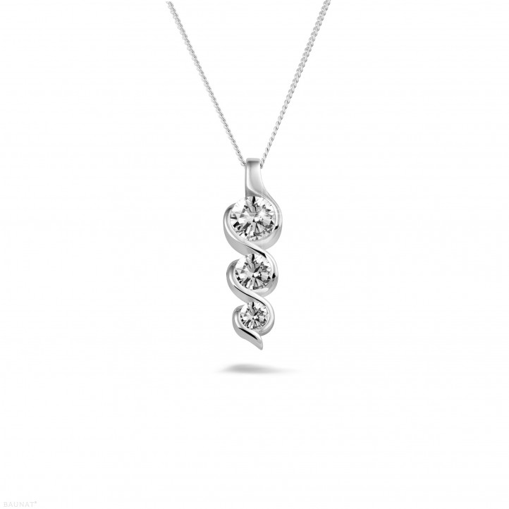 0.85 carat trilogy diamond pendant in platinum