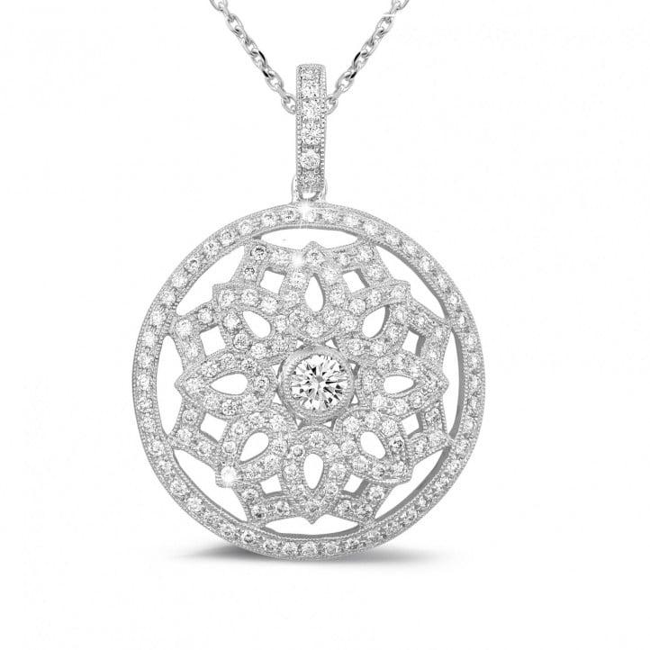 1.10 carat diamond pendant in platinum