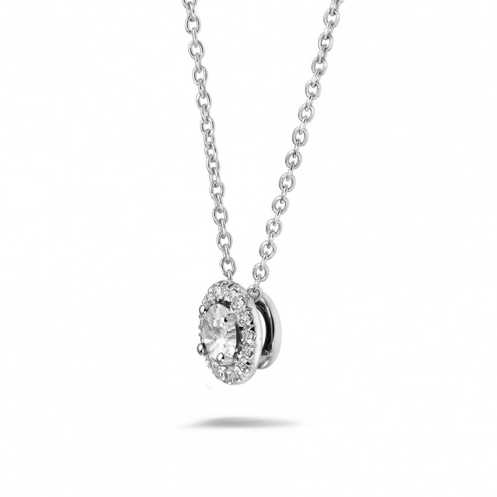 0.50 carat diamond halo necklace in platinum