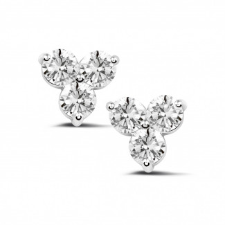 2.00 carat diamond trilogy earrings in white gold