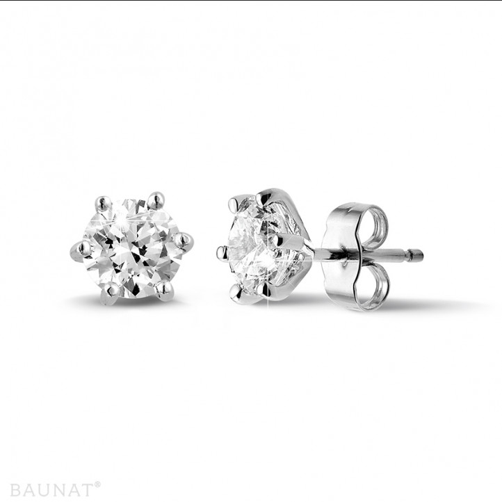 2.00 carat classic diamond earrings in platinum with six prongs