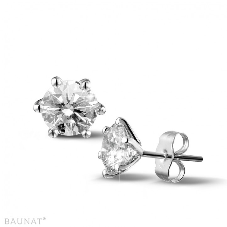 2.50 carat classic diamond earrings in platinum with six prongs
