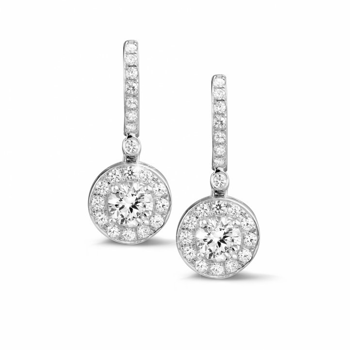 1.55 carat diamond halo earrings in white gold