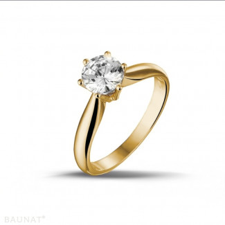 Yellow Gold Diamond Engagement Rings - 0.90 carat solitaire diamond ring in yellow gold