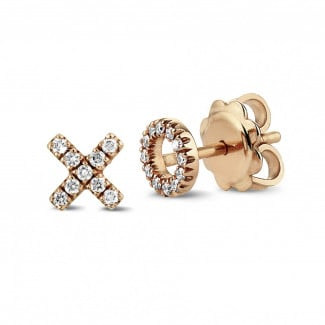 Earrings - XO earrings in red gold with small round diamonds