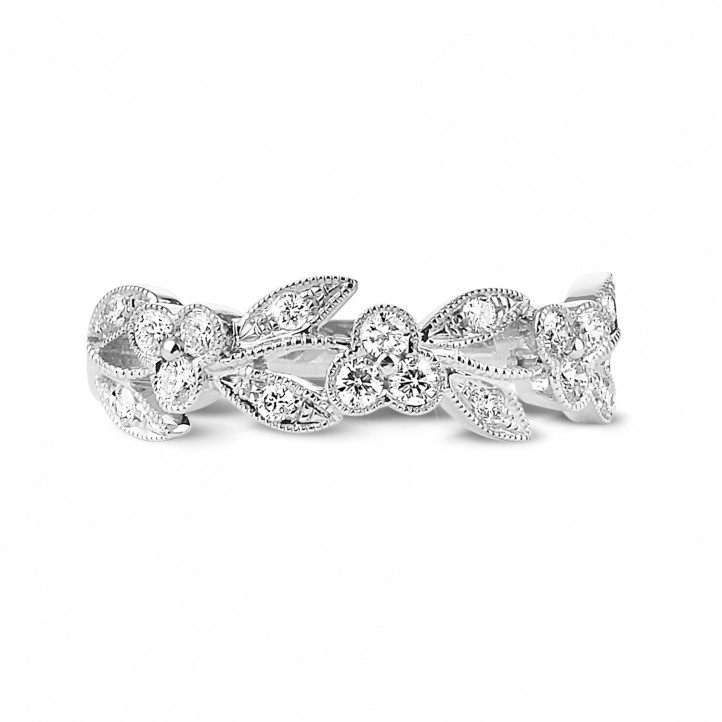 0.32 carat floral alliance in white gold with small round diamonds