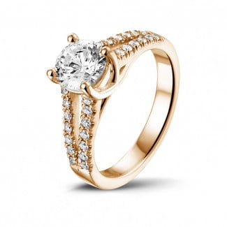 Red Gold Diamond Engagement Rings - 1.00 carat solitaire ring in red gold with side diamonds