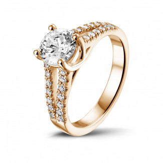 Red Gold Diamond Rings - 1.00 carat solitaire ring in red gold with side diamonds