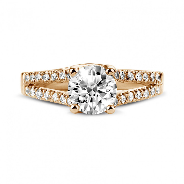 1.00 carat solitaire ring in red gold with side diamonds