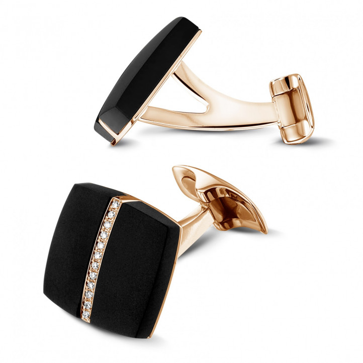 Red golden cufflinks with onyx and diamonds
