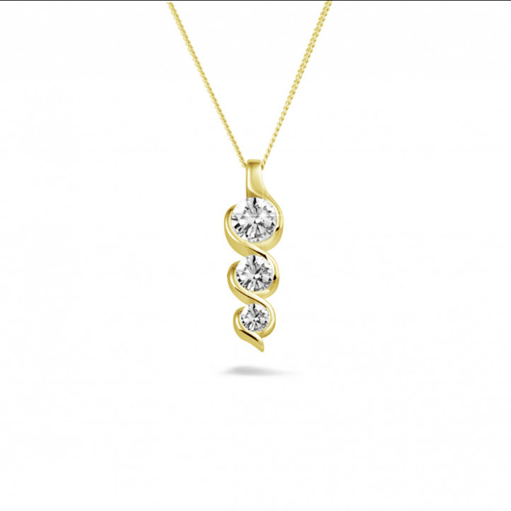 0.85 carat trilogy diamond pendant in yellow gold