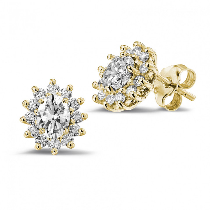 2.00 carat entourage earrings in yellow gold with oval and round diamonds