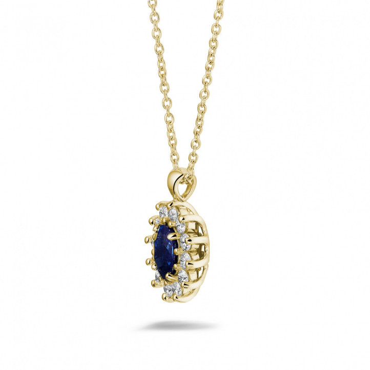 Entourage pendant in yellow gold with oval sapphire and round diamonds