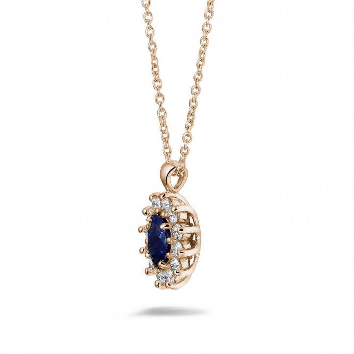 Entourage pendant in red gold with oval sapphire and round diamonds