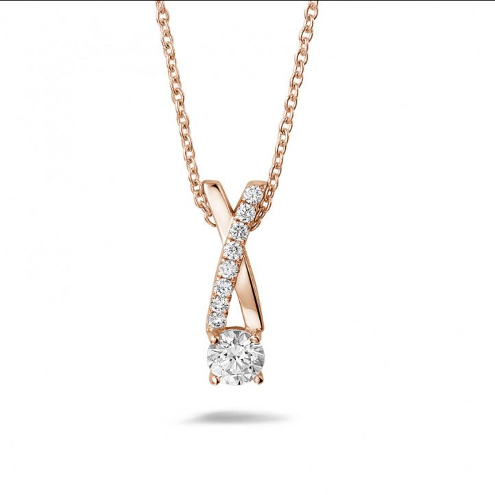 0.50 carat diamonds cross pendant in red gold