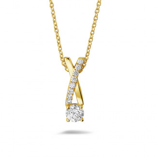 Yellow Gold Diamond Necklaces - 0.50 carat diamonds cross pendant in yellow gold