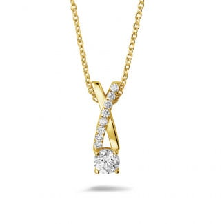 Diamond Pendants - 0.50 carat diamonds cross pendant in yellow gold