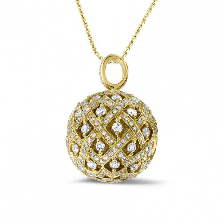 2.00 carat diamond pendant in yellow gold