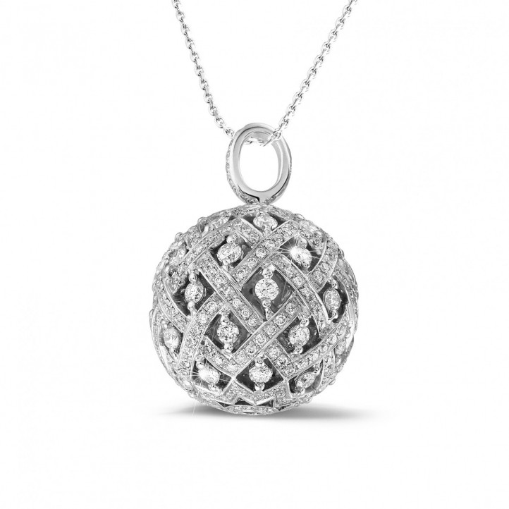 2.00 carat diamond pendant in white gold