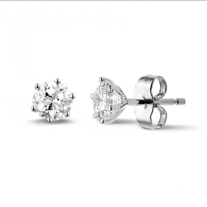 1.00 carat classic diamond earrings in white gold with six prongs