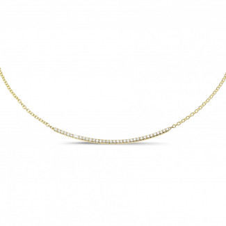 Yellow Gold Diamond Necklaces - 0.30 carat fine diamond necklace in yellow gold