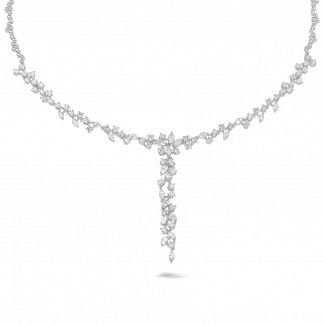 White Gold Diamond Necklaces - 5.85 carat necklace in white gold with round and marquise diamonds