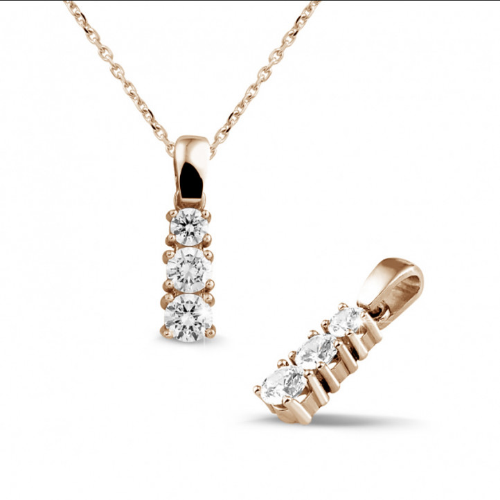 0.83 carat trilogy diamond pendant in red gold