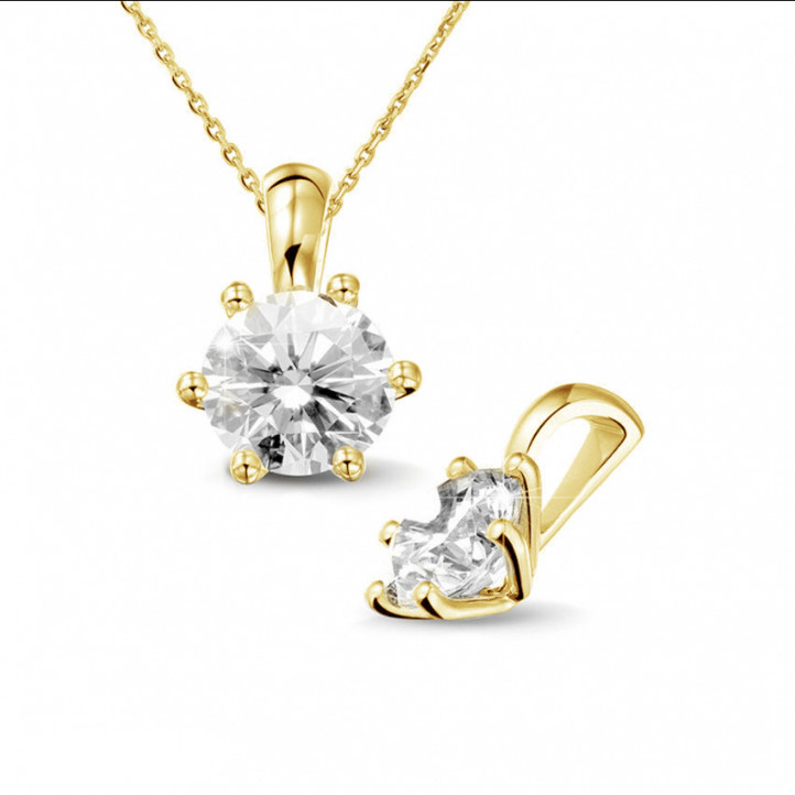 1.50 carat yellow golden solitaire pendant with round diamond