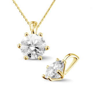 2.00 carat yellow golden solitaire pendant with round diamond