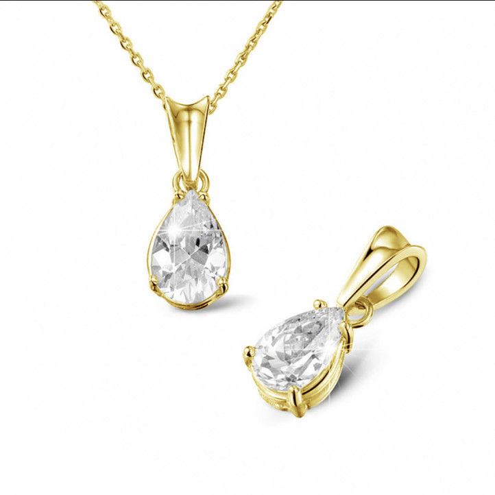 1.50 carat yellow golden solitaire pendant with pear shaped diamond