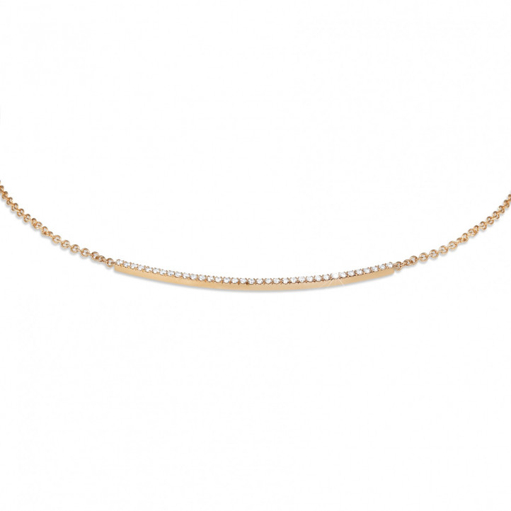 0.30 carat fine diamond necklace in red gold