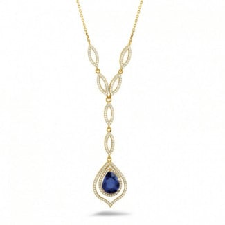 Diamond yellow golden necklace with a pear shaped sapphire of approximately 4.00 carat
