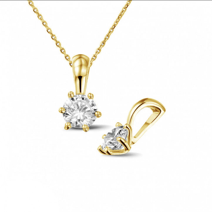 0.50 carat yellow golden solitaire pendant with round diamond