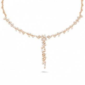 Artistic - 5.85 carat necklace in red gold with round and marquise diamonds
