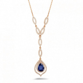 Diamond Pendants - Diamond red golden necklace with a pear shaped sapphire of approximately 4.00 carat