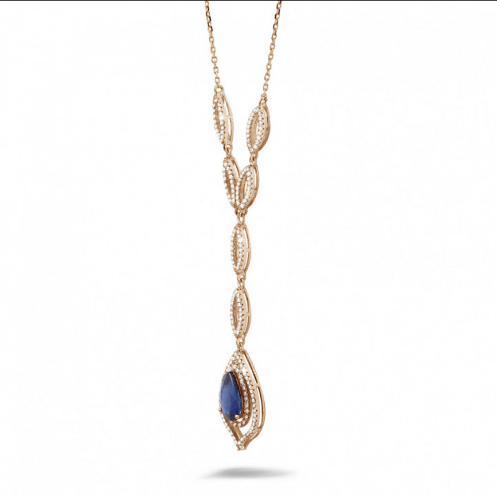 Diamond red golden necklace with a pear shaped sapphire of approximately 4.00 carat