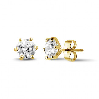 2.00 carat classic diamond earrings in yellow gold with six studs