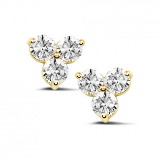 2.00 carat diamond trilogy earrings in yellow gold
