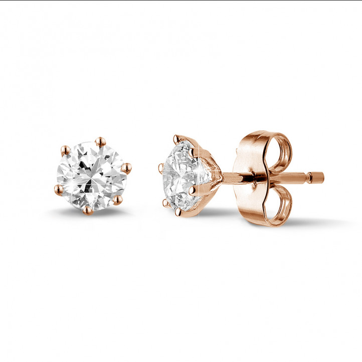 1.00 carat classic diamond earrings in red gold with six studs